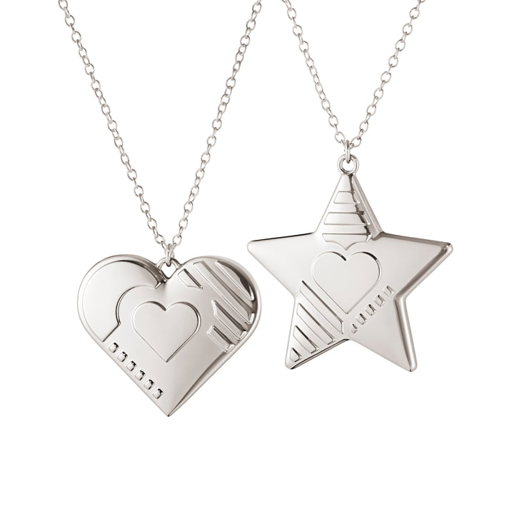 Ornament hanger 2019 Heart & Star, palladium van Georg Jensen.