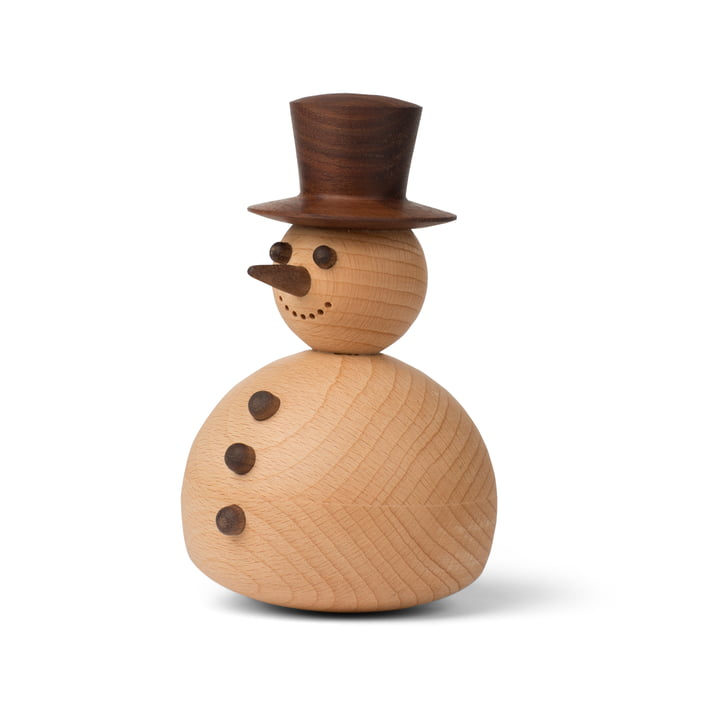 Decoratieve figuur sneeuwpop in walnoot / beuk van Spring Copenhagen