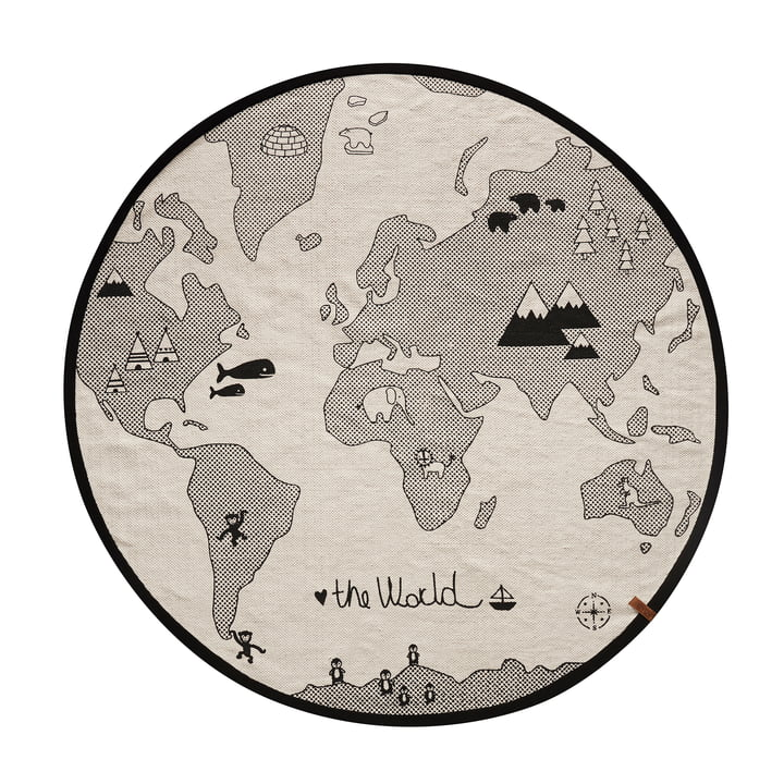 Het wereldspeeltapijt Ø 135 cm van OYOYOY in zwart/grijs.