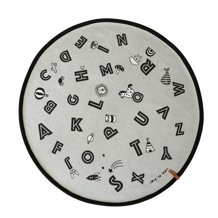 Alphabet speeltapijt Ø 120 cm in grijs door OYOYOY