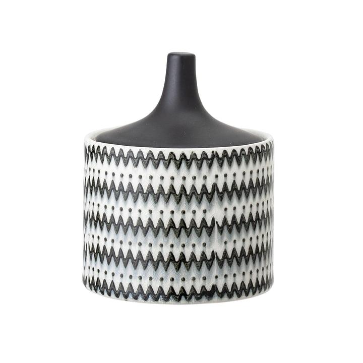 Aardewerk schaal met deksel Ø 10 x H 12 cm van Bloomingville in zwart/wit.