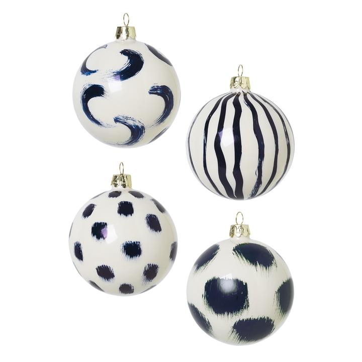 Kerstboom ballen gemaakt van glas door ferm Living in blue (set van 4)