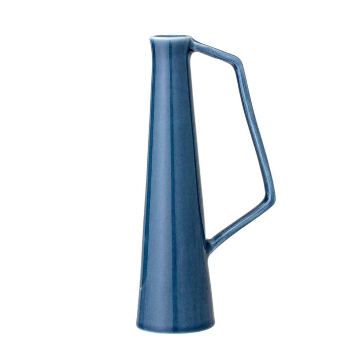 Aardewerken vaas met handvat, Ø 5,5 x H 20,5 cm in het blauw, uit Bloomingville.