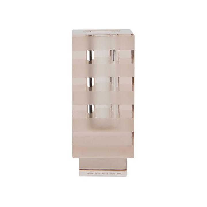 Grafische vaas en kandelaar, vierkant / lichtbruin van OYOY