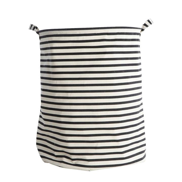 Wasmand Strepen Ø 40 x H 50 cm door Huisarts in zwart/wit