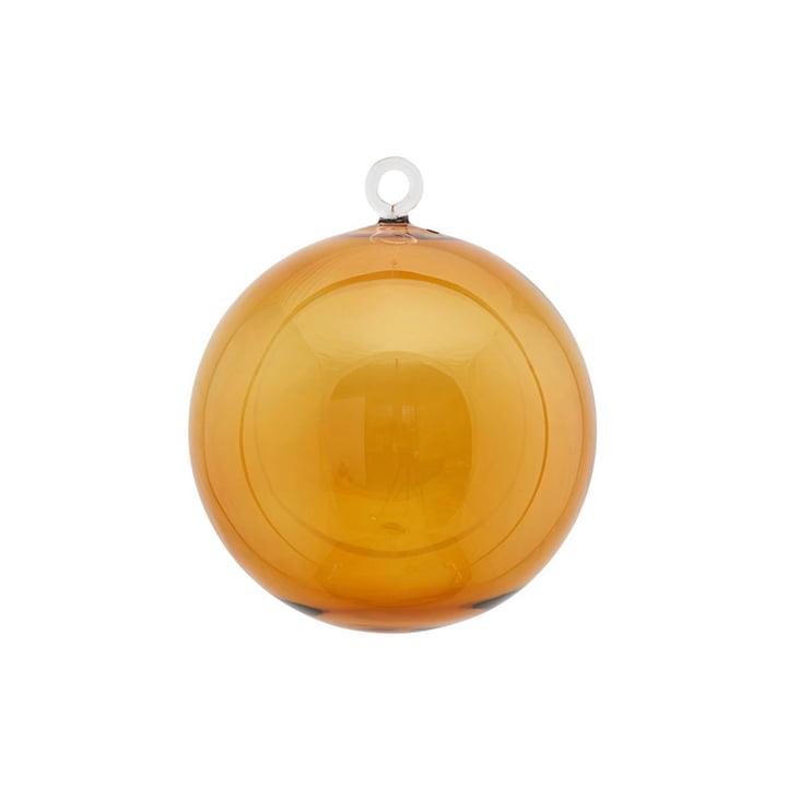 Glazen kerstboombol Ø 12 cm door huisarts in geel