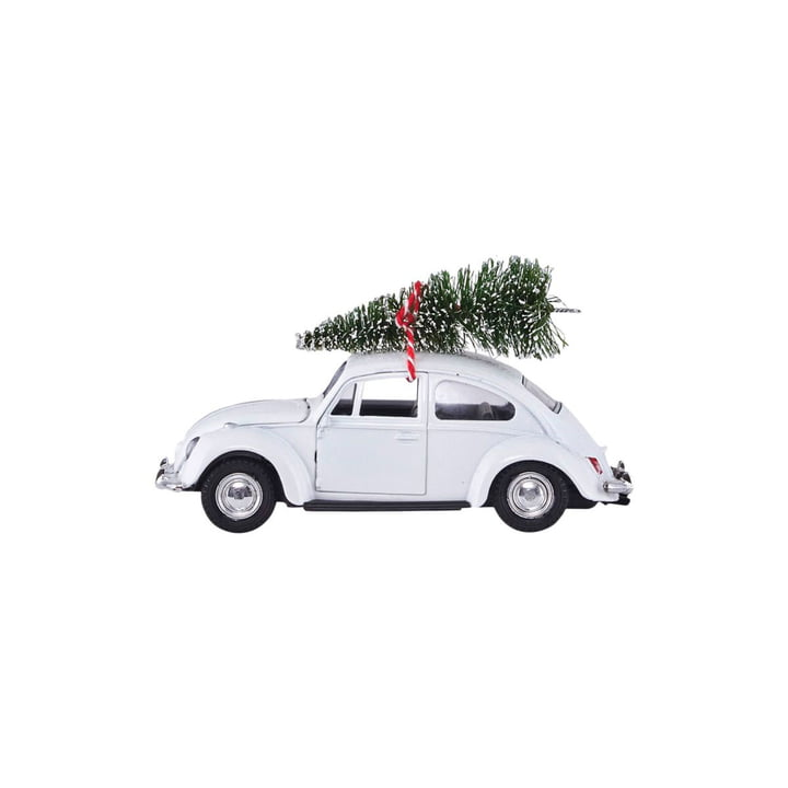 Xmas Cars Deco Cars 8,5 cm door Huisarts in wit
