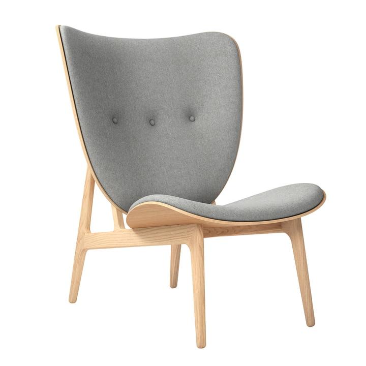 Elephant Lounge Fauteuil van Norr11 in natuurlijk eiken / wol lichtgrijs (Lichtgrijs 1000)