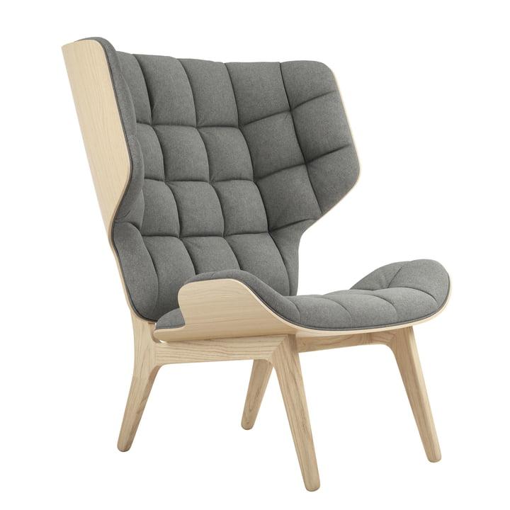 Mammoet Loungestoel van Norr11 in natuurlijk eiken / wol lichtgrijs (lichtgrijs 1000)