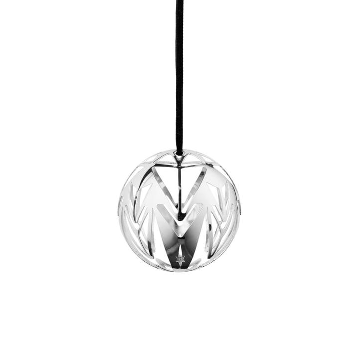 Karen Blixen kerstbal Ø 6,5 cm van Rosendahl in verzilverd staal, Ø 6,5 cm.