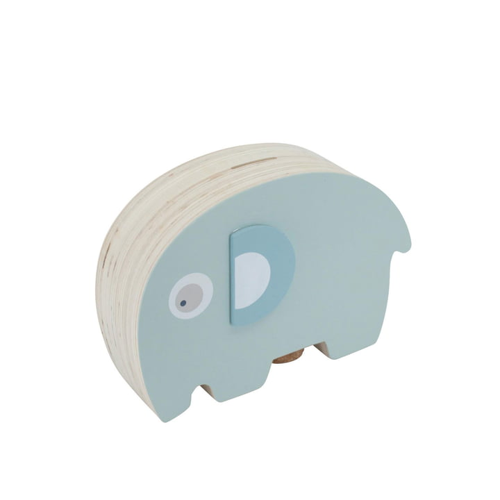 Fanto de olifant houten spaarpot van Sebra in de laguneblauwe laguneblauw