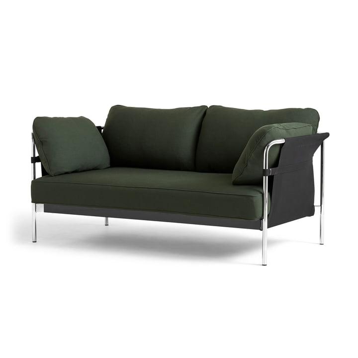 Can 2. 0 Sofa 2-zitsbank van Hay in chroom / Canvas zwart / Steelcut 975 donker groen