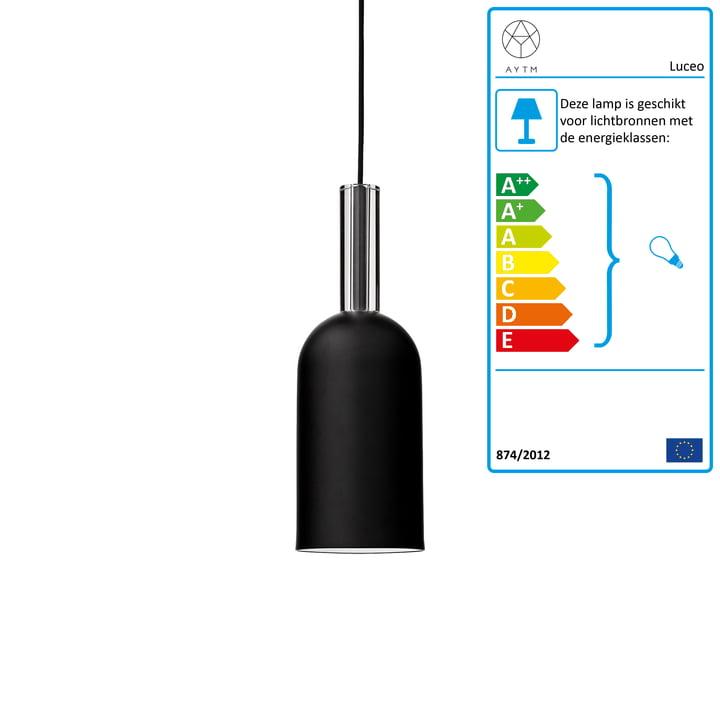 Luceo hanglamp, Ø 12 x H 35 cm, zwart / transparant door AYTM, Ø 12 x H 35 cm