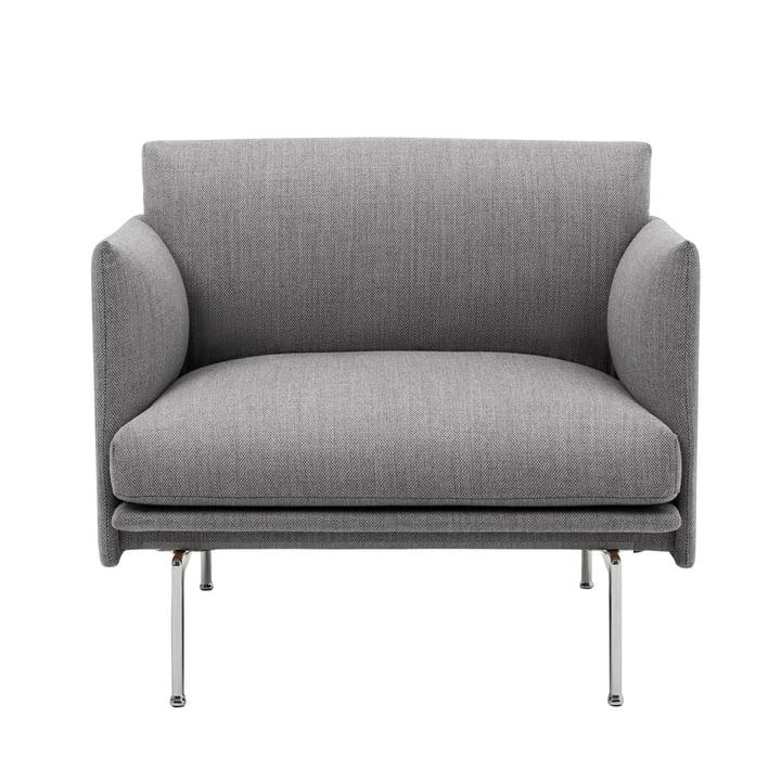 Outline Studio fauteuil van Muuto in grijs (fiord 151) / gepolijst aluminium