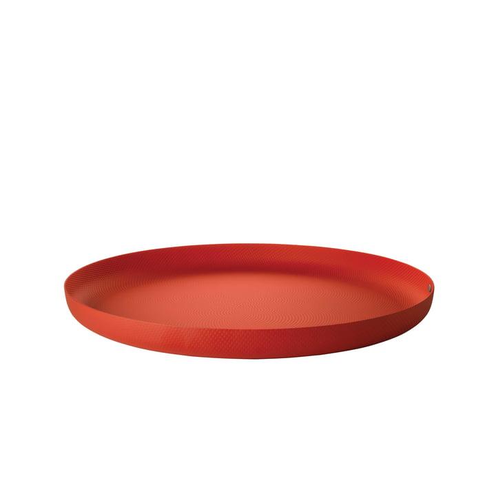 Dienblad Ø 35 x H 3 cm van Alessi in rood met reliëfdecoratie.