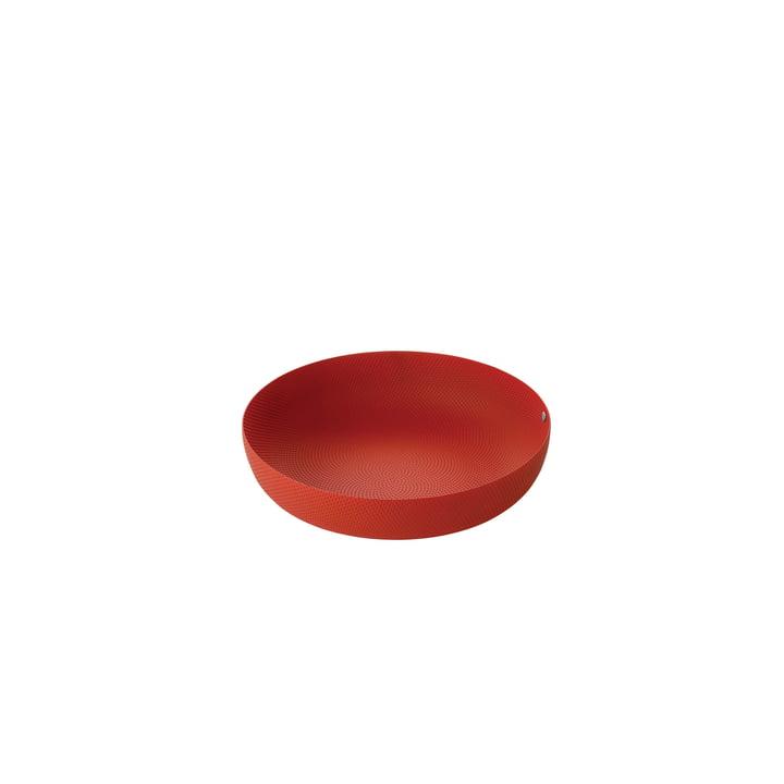 schaal Ø 21 x H 4,7 cm van Alessi in het rood met reliëf decoratie