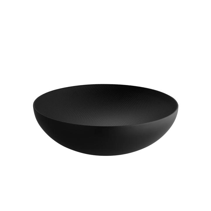 Dubbelwandige schaal Ø 25 x H 7,3 cm van Alessi in het zwart met reliëfdecoratie.