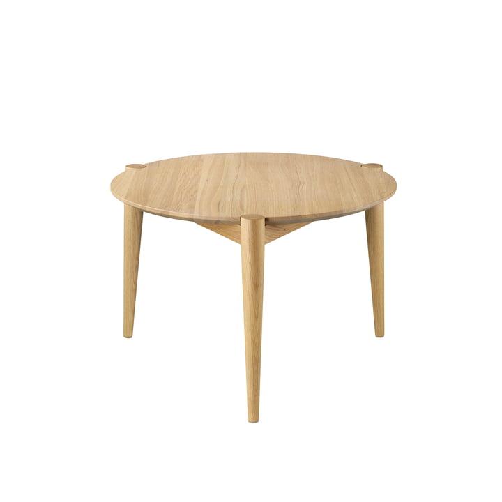 D102 Søs salontafel Ø 55 cm van FDB Møbler in eik helder gelakt en blank gelakt