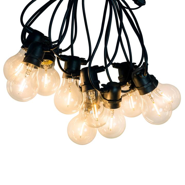 Connox Collection - LED-lichtketting binnen/buiten (IP 44), 10 lampen rond, kabel zwart, 10 lampjes rond