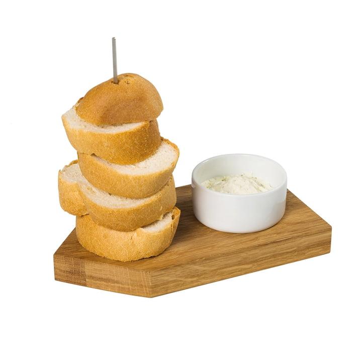 Brood Ahoi dienblad met dompelbakje, eiken / wit van kamerontwerp