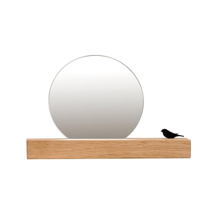 Spiegel met vogel Ø 15 cm, natuurlijk eikenhout van kamerontwerp