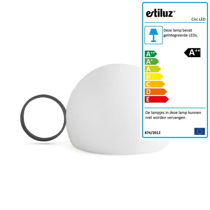 Circ LED-batterijtafelverlichting M-3726 van Estiluz in het zwart