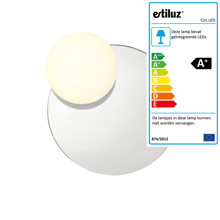 Circ LED-wandlamp met spiegel A-3702 Ø 30,8 cm van Estiluz in de kleur rookgrijs.