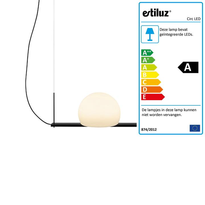 Circ LED hanglamp 40 cm van Estiluz in het zwart