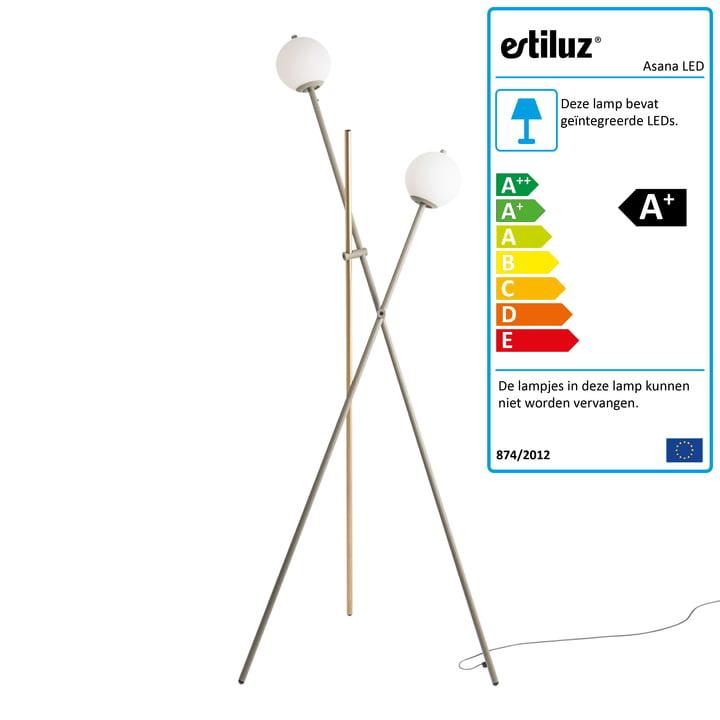 Asana LED-vloerlamp van Estiluz in nerts / satingold