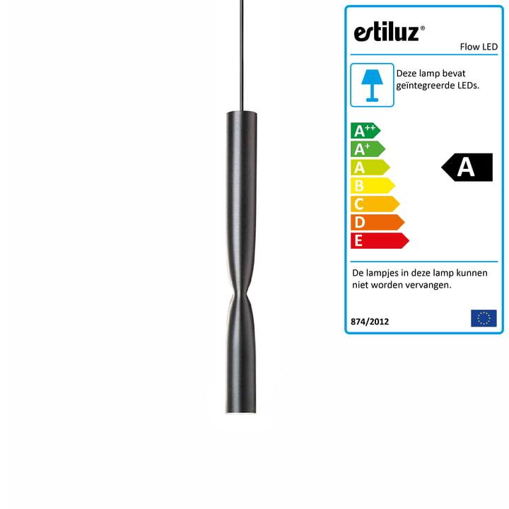 Flow LED pendelarmatuur van Estiluz in het zwart
