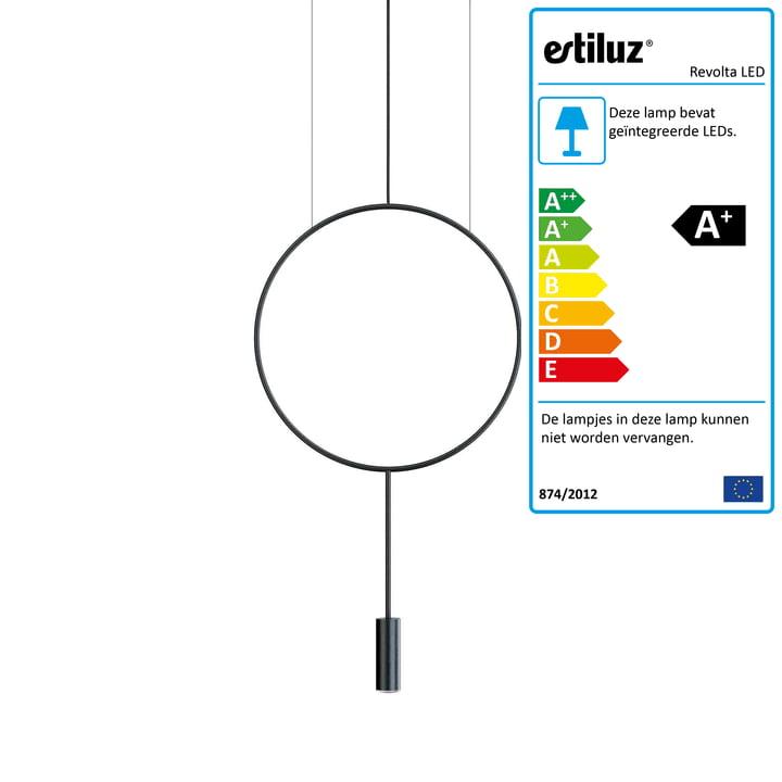 Revolta LED Hanger Licht 2700K van Estiluz in het zwart