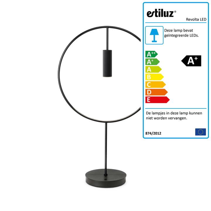 Revolta LED tafellamp 2700K van Estiluz in het zwart