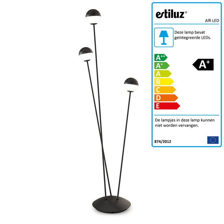 Alfi LED-vloerlamp van Estiluz in het zwart