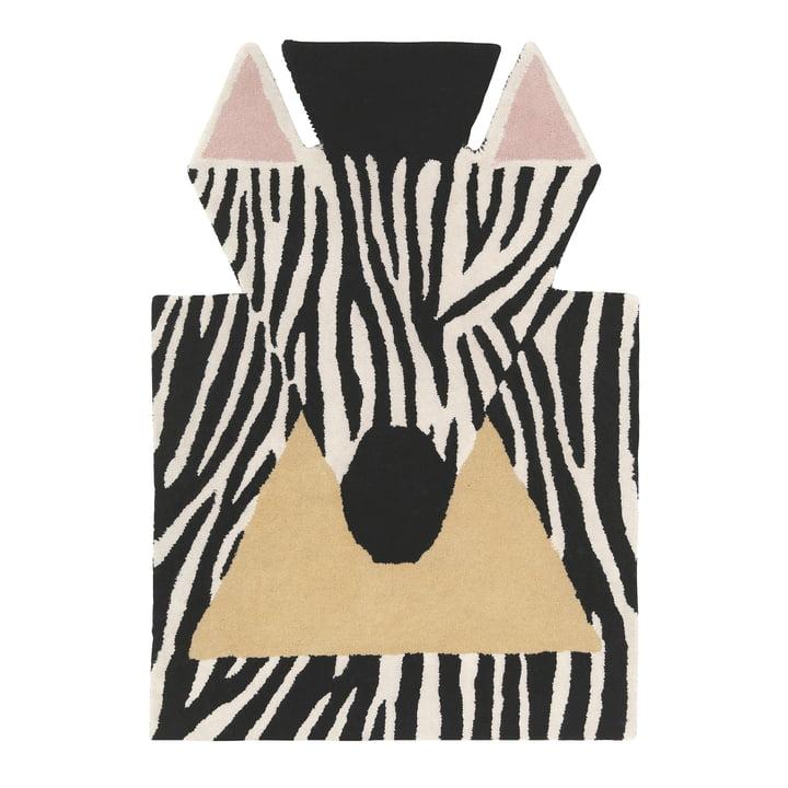 Zebra 100 x 70 cm tapijt van EO Denemarken in zwart / wit / beige