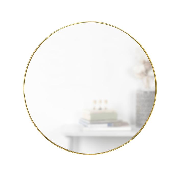 Hubba spiegel Ø 86 cm van Umbra in messing