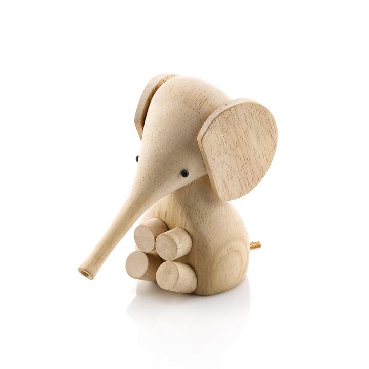 Gunnar Flørning Baby Elephant houten figuur H 11 cm van Lucie Kaas in de rubberboom natuur.