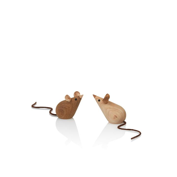 Skjøde Mouse houten figuur uit Lucie Kaas in as / kastanje (2 delen)