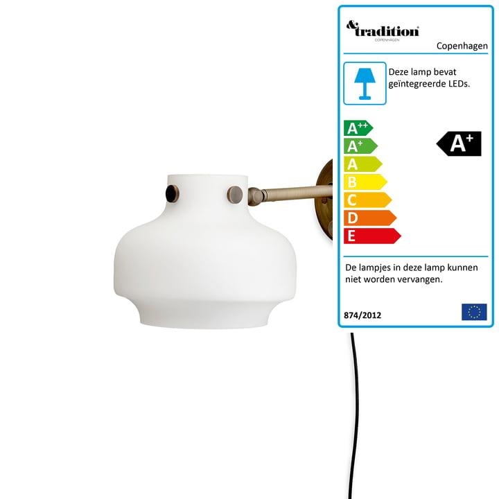 Kopenhagen wandlamp SC16 volgens de & traditie in opaal glas / gelooid messing