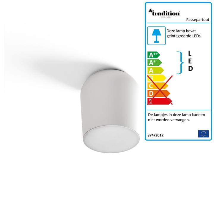 Passepartout wand- en plafondlamp JH10 Ø 15,5 x H 17 cm uit & de traditie in wit.