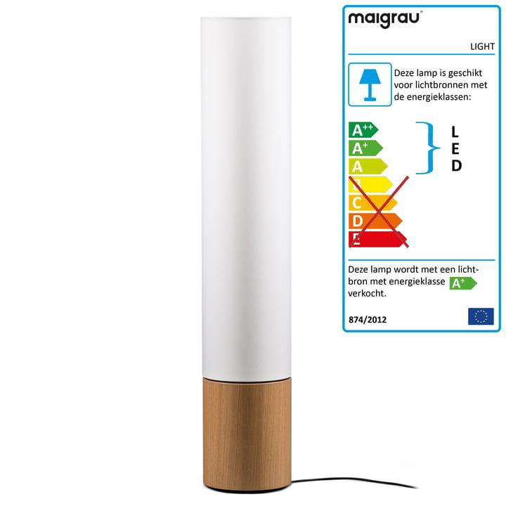 LED-vloerlamp LIGHT 130, eiken naturel, wit van Maigrau, met LED-vloerlamp LIGHT 130, wit van Maigrau