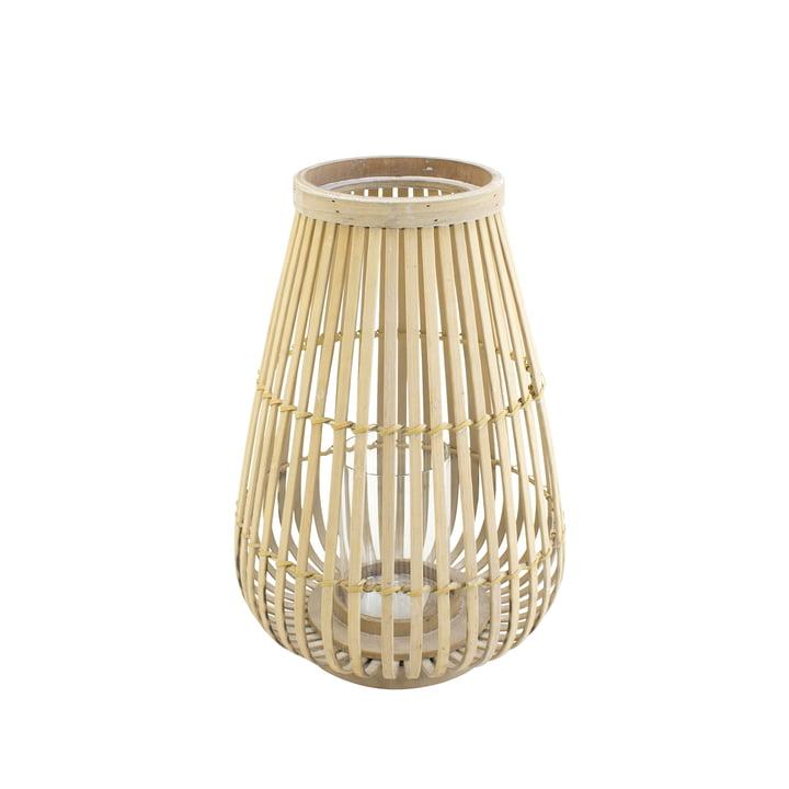 Bamboe lantaarn met glazen inleg in de natuur, 36 cm