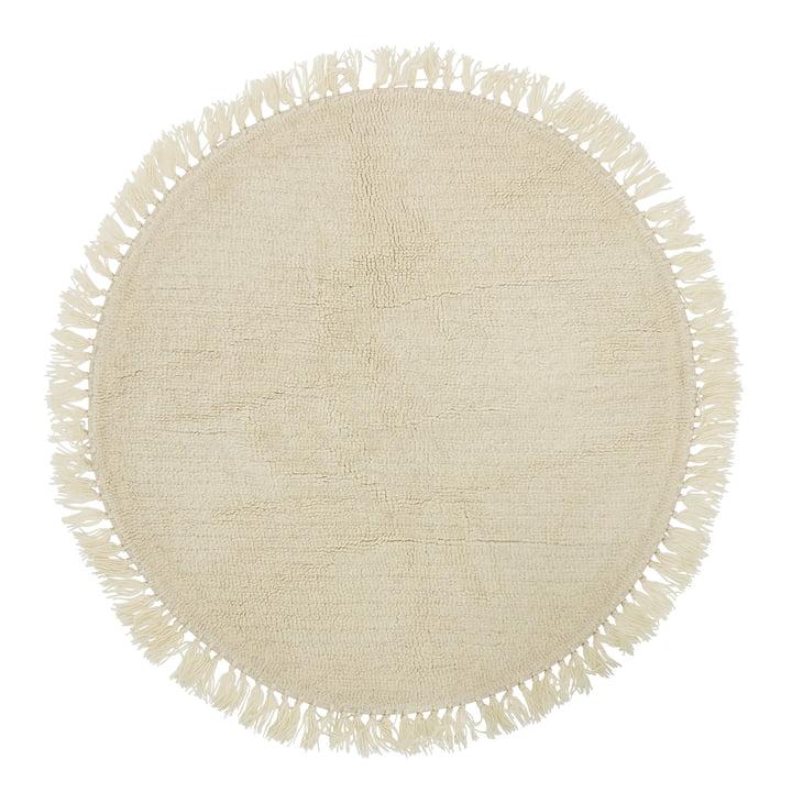 Bloomingville - Tapijt van natuurlijke vezels met franjes Ø 110 cm, wol