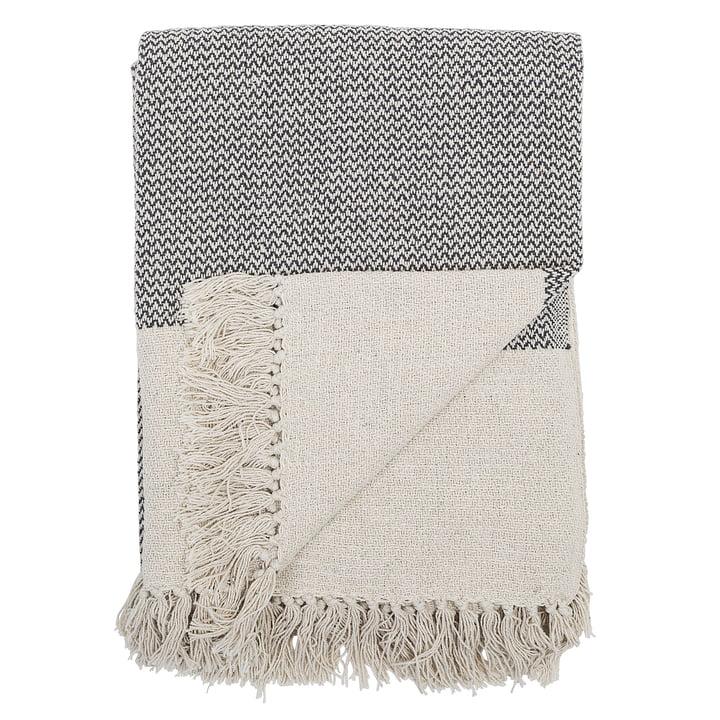 deken met franjes 160 x 130 cm van Bloomingville in het grijs