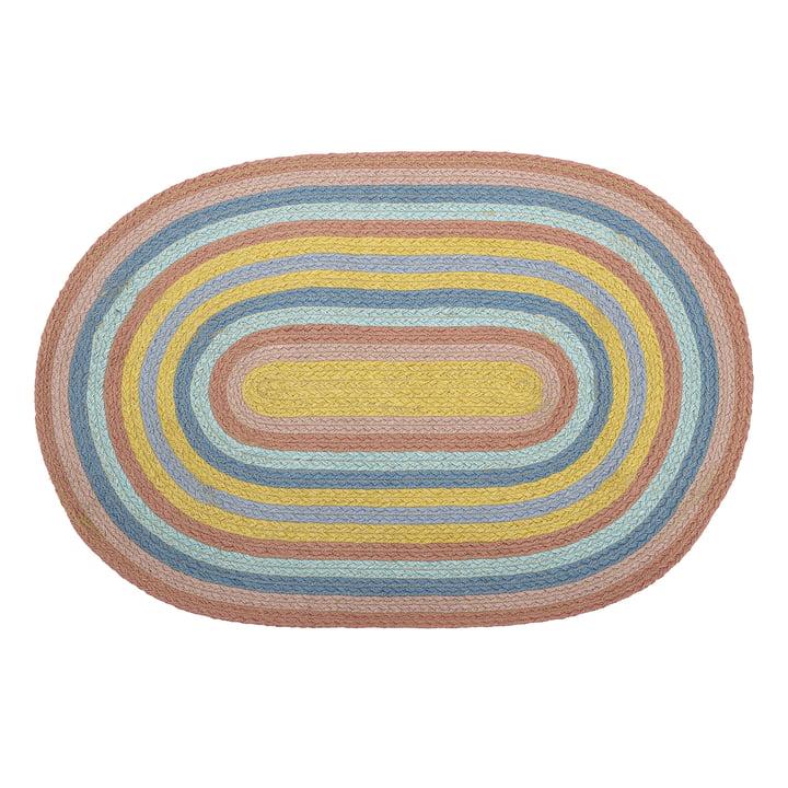Jute tapijt regenboog ovaal 75 x 50 cm van Bloomingville in veelkleurig