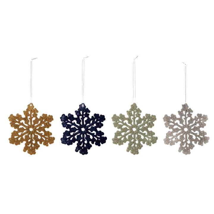 Sneeuwvlok ornamenten Ø 11,5 cm (set van 4) van Bloomingville in veelkleurig