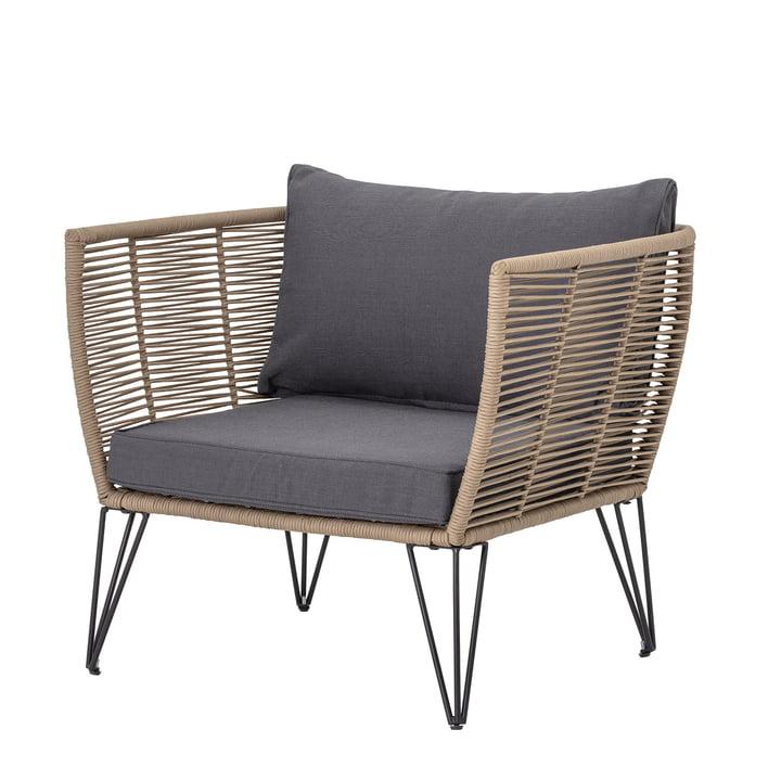 Mundo Lounge Chair met kussen Bloomingville in bruin/grijs