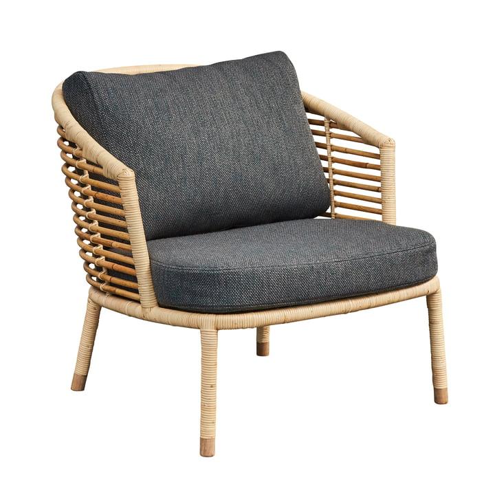 Sense Lounge chair, naturel / donkergrijs van Cane-line
