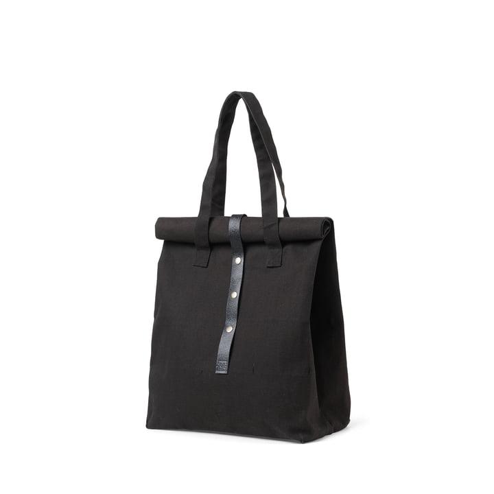 Rå picknicktas H 43 cm van Juna in het zwart