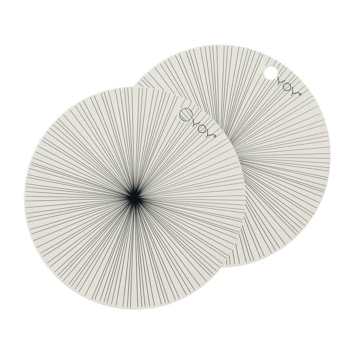 Placemats Ray Ø 36 cm, gebroken wit (set van 2) van OYOY