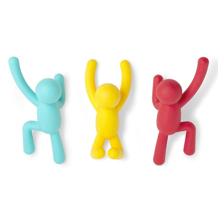 Buddy wandhaakset van 3 van Umbra in blauw/geel/rood